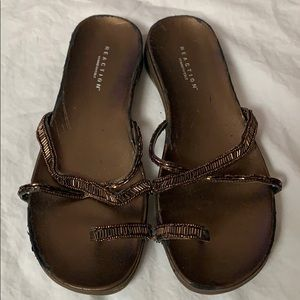 Reaction Kenneth Cole Brown Beaded Sandals